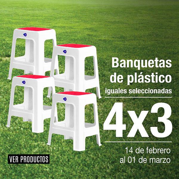 Banquetas de plástico 4x3