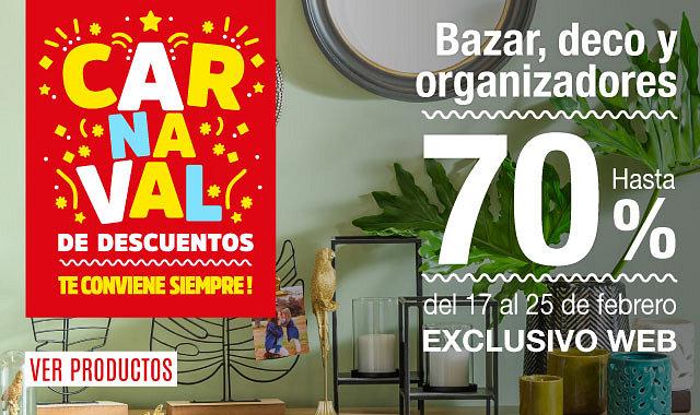 Carnaval de Descuentos Bazar,deco Y Organizadores 20%