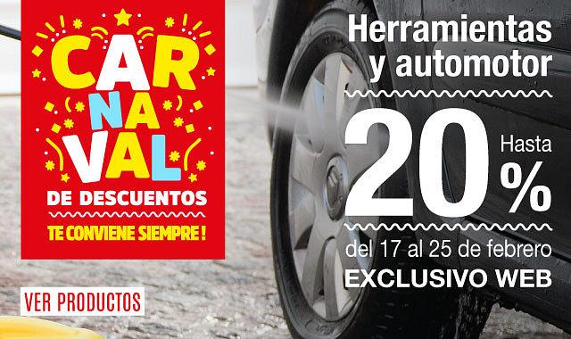 Carnaval de Descuentos en Herramientas y Automotor 20%