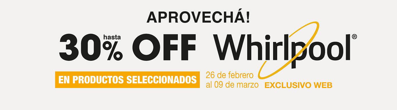 30% en Productos seleccionados de Whirplool