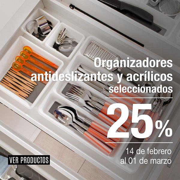 Organizadores antideslizante y acrílico 25%