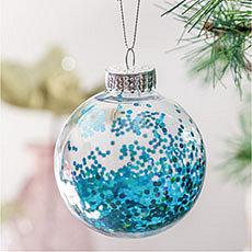 Esfera transparente con gliter turquesa